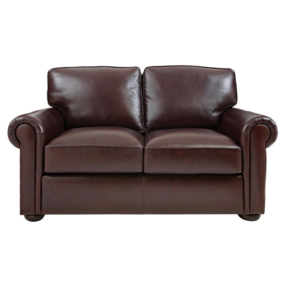 Alwin Chocolate Leather Loveseat