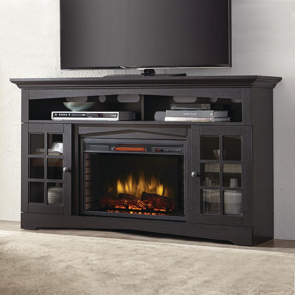 Home Decorators Collection Avondale Grove 59 In Media Console Infrared Electric Fireplace In