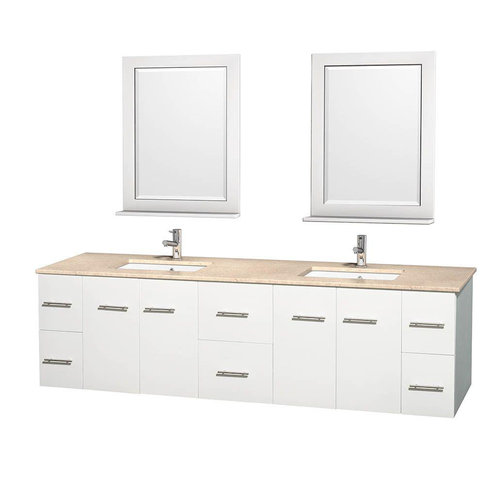Wyndham Collection Centra 80 in. Double Vanity in White with Marble