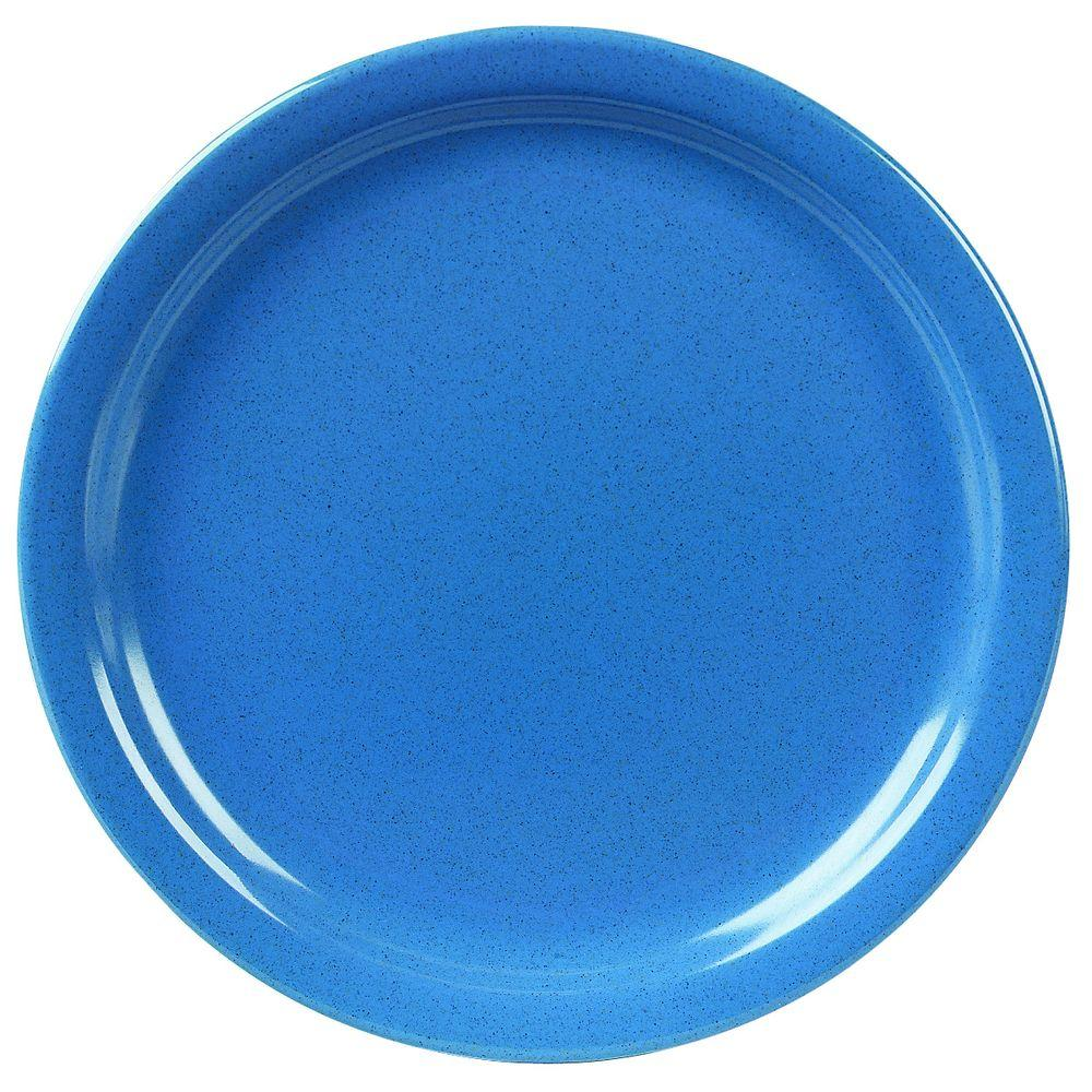 9 in. Diameter, Melamine Plate in Sand Shades Blue (Case of