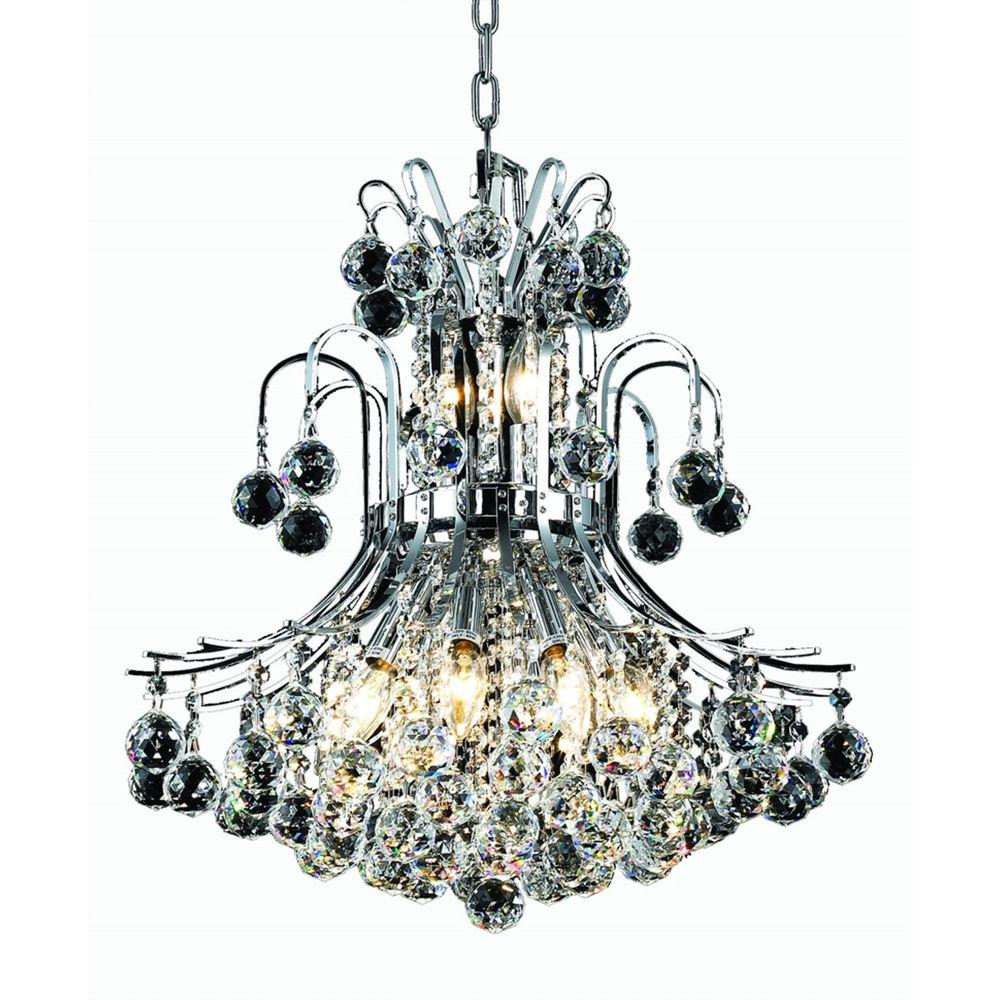 10-Light Chrome Chandelier with Clear Crystal
