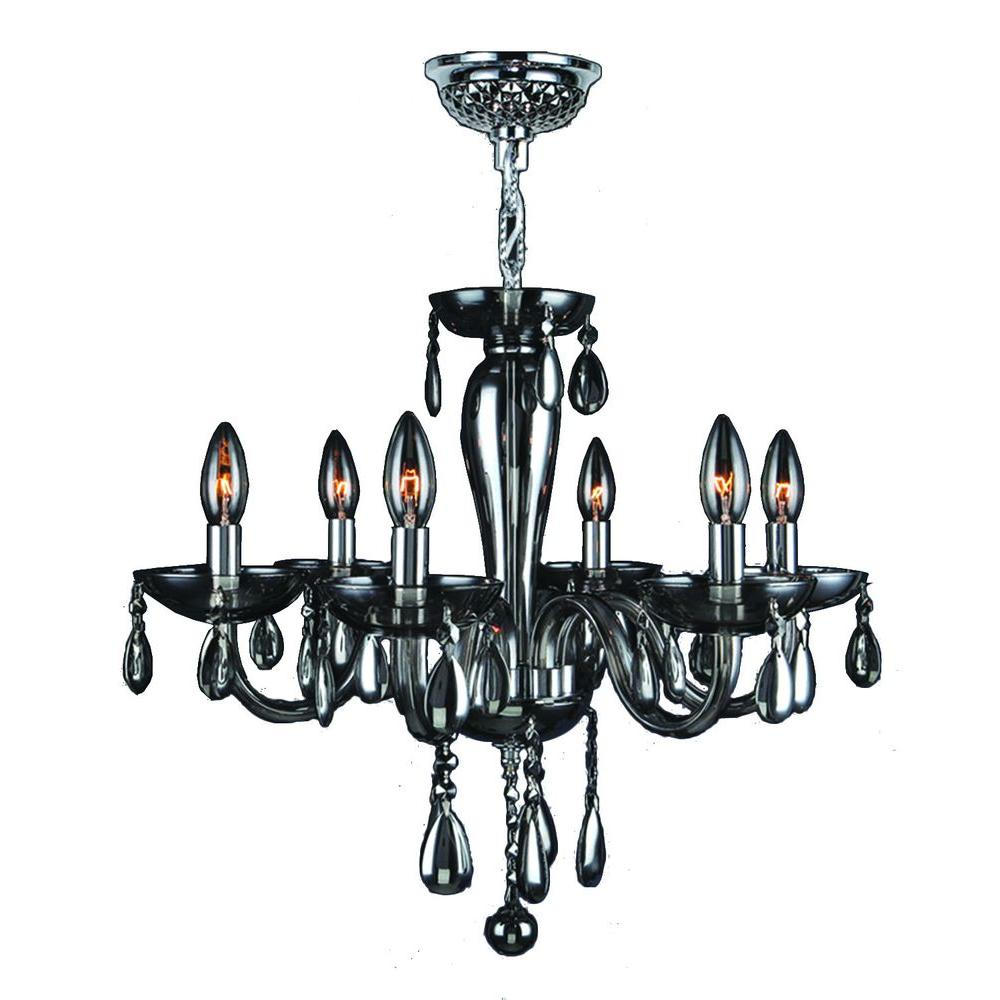 Gatsby 6-Light Chrome and Smoke Glass and Crystal Chandelier