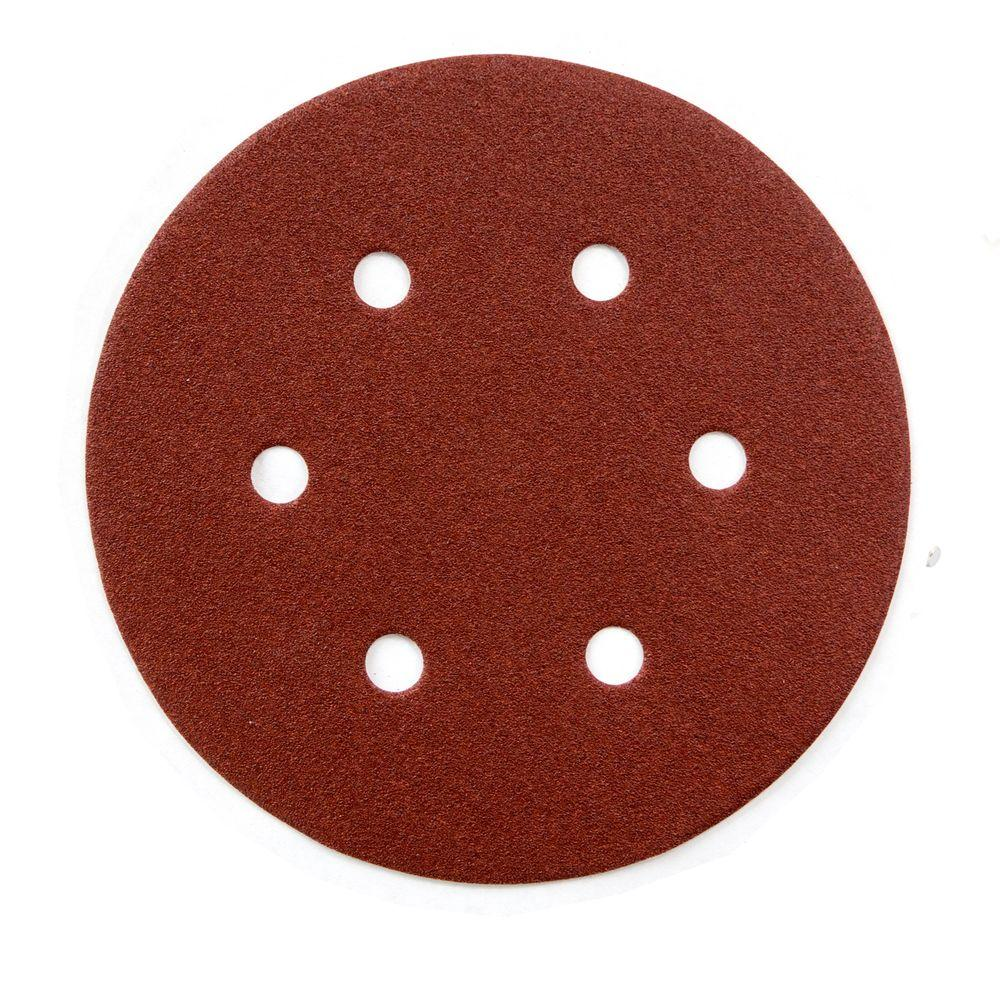 6 in. 40-Grit Aluminum Oxide Hook and Loop 6 Hole Disc