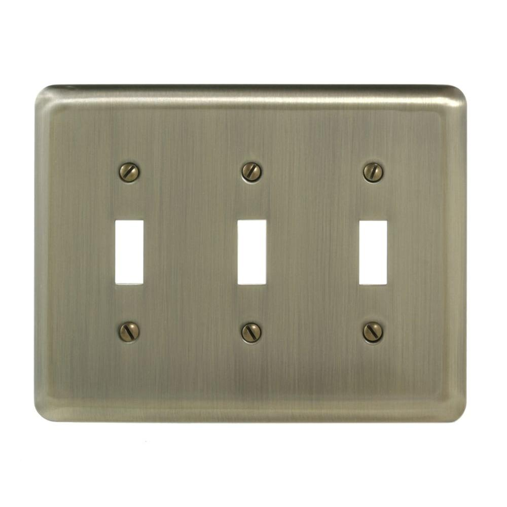 Steel 3 Toggle Wall Plate - Brushed Brass