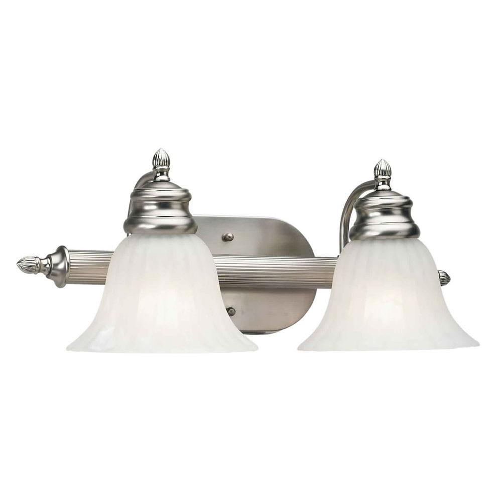 2-Light Brushed Nickel Bath Vanity Light with Fluted Satin Etched Glass
