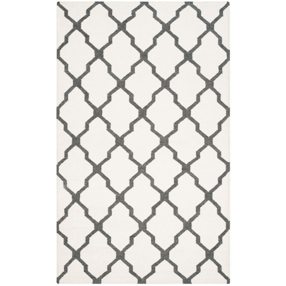 Dhurries Ivory/Charcoal 5 ft. x 8 ft. Area Rug