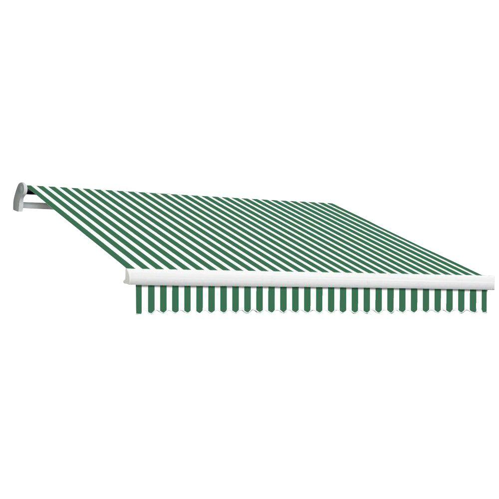 Beauty-Mark 8 ft. MAUI EX Model Left Motor Retractable Awning (84 in. Projection) in Forest Green and White Stripe