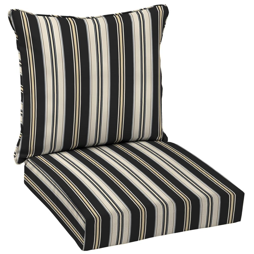 Black Stripe Deep Seating Outdoor Lounge Chair Cushion