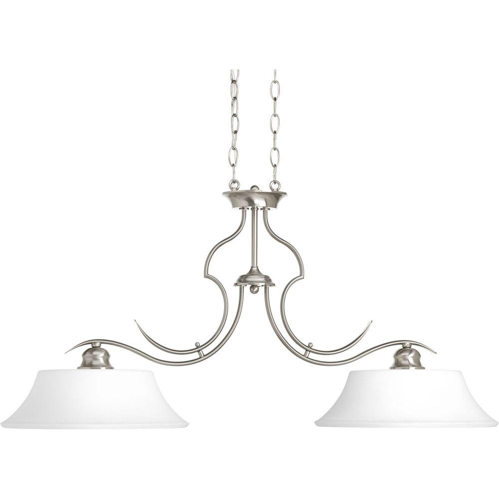 Applause Collection 2-Light Brushed Nickel Chandelier