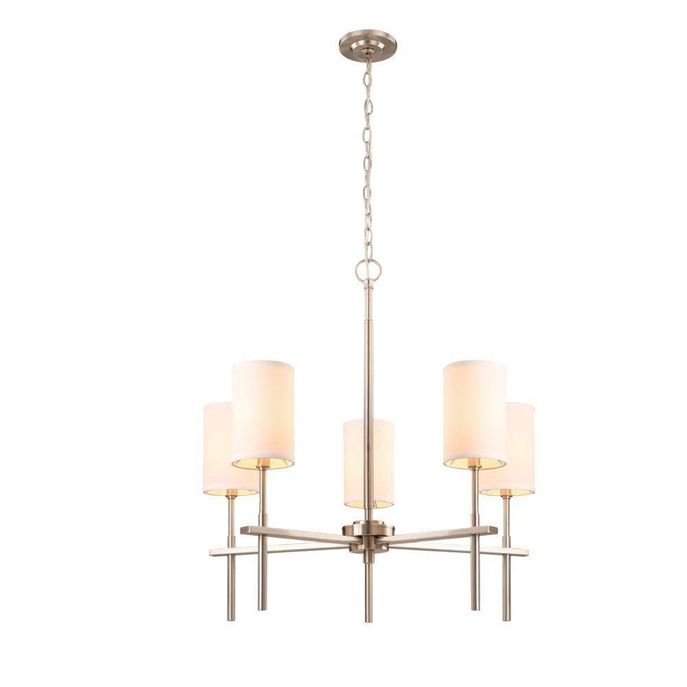 Hampton Bay Remington Collection 5-Light Brushed Nickel Chandelier-HEF7115A-2 -