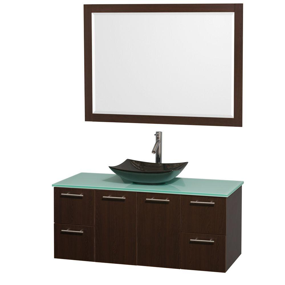 Wyndham Collection Amare 48 in. Vanity in Espresso with Glass Vanity