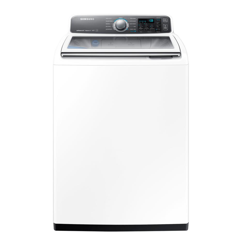 samsung 4 8 cu ft high efficiency top load washer with activewash in white energy star shop. Black Bedroom Furniture Sets. Home Design Ideas