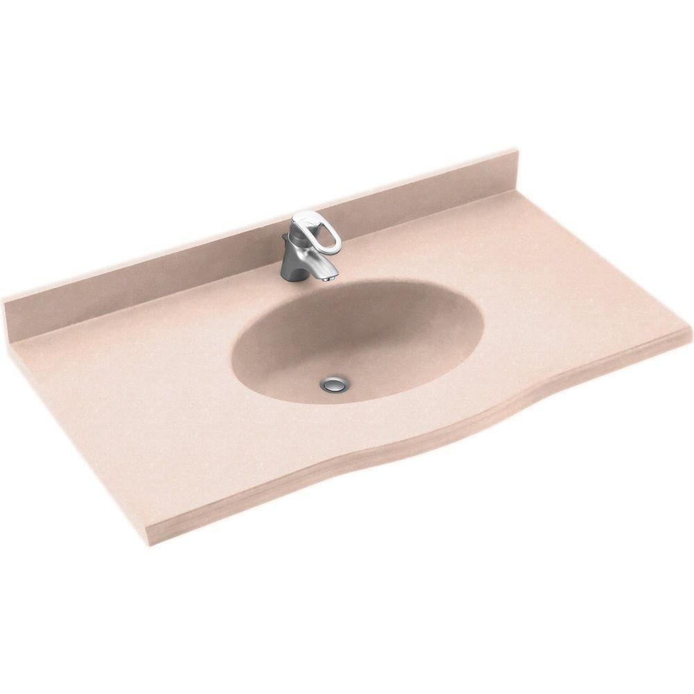 Swanstone Europa 55 in. Solid Surface Vanity Top with Basin in Tahiti Rose-DISCONTINUED