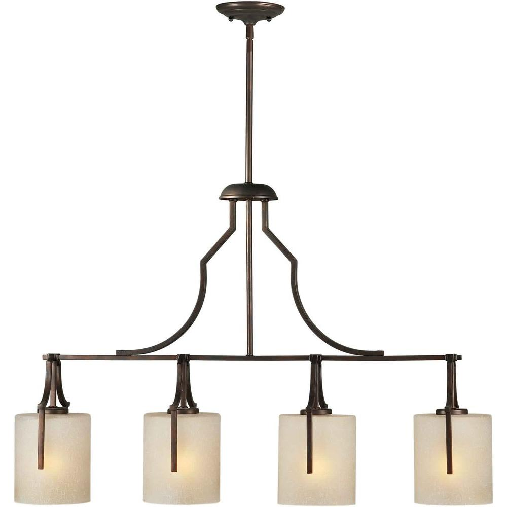 Talista 4-Light Antique Bronze Island Pendant with Umber Linen Glass Shade