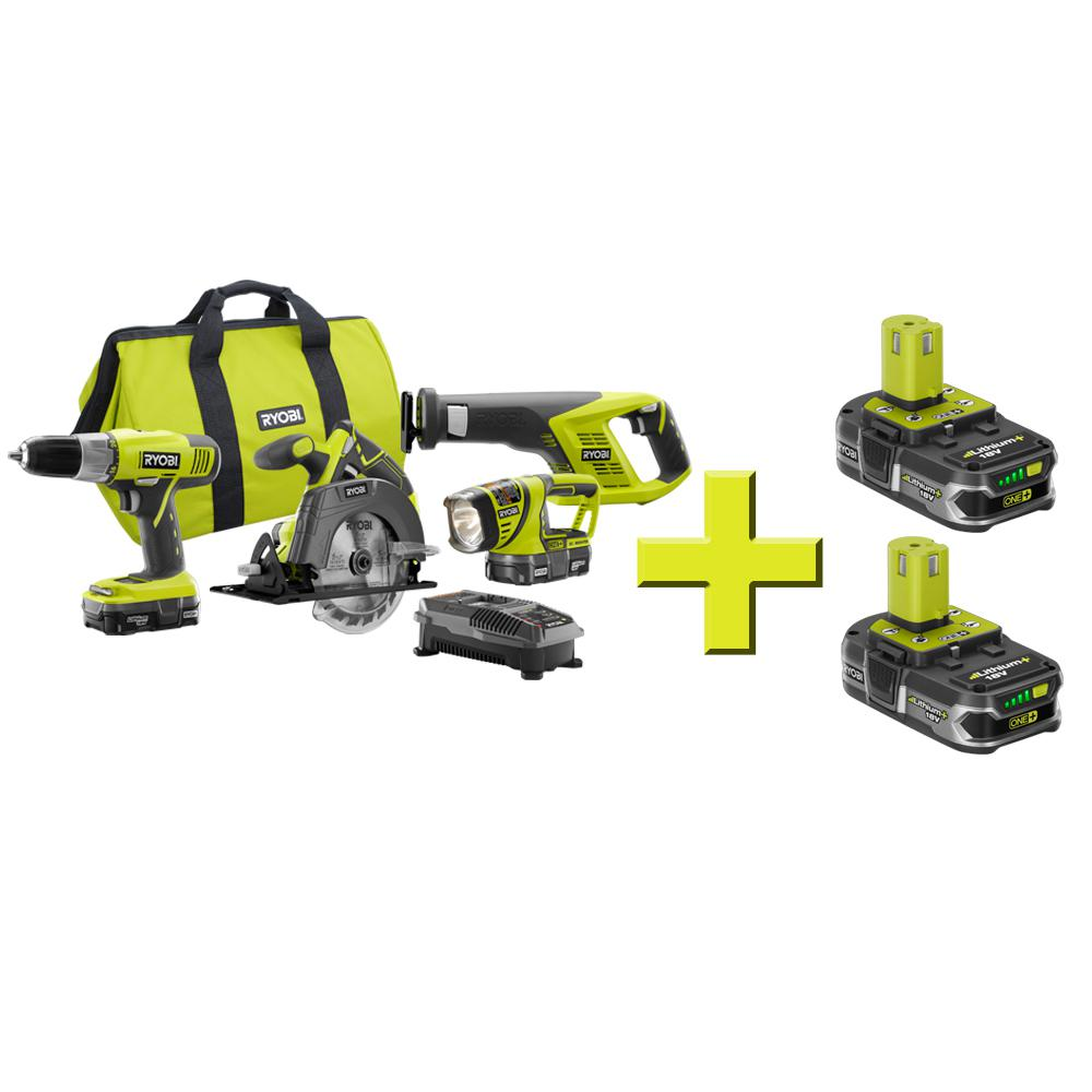 ONE+ 18-Volt Lithium-Ion Cordless Super Combo Kit (4-Piece) Free Lithium+