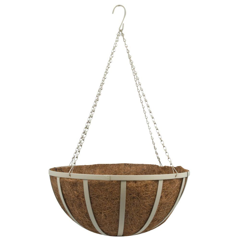 Pride Garden Products 18 in. Coco Oxford Hanging Basket with Sandstone Chain
