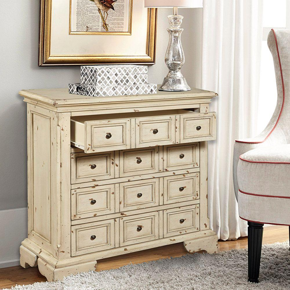 34 in. H x 35 in. W 4-Drawer Chest in Beige