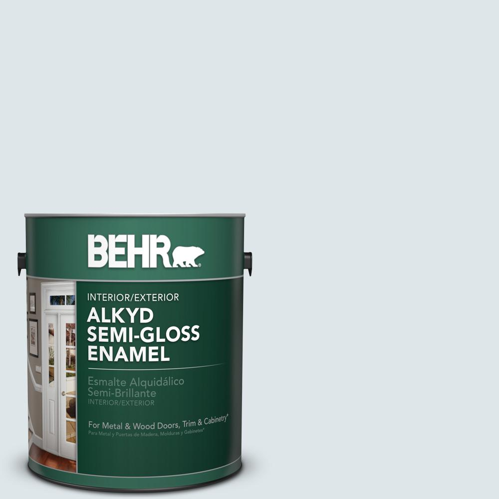 1 gal. #BL-W3 Blue Bird Day Semi-Gloss Enamel Alkyd Interior/Exterior Paint