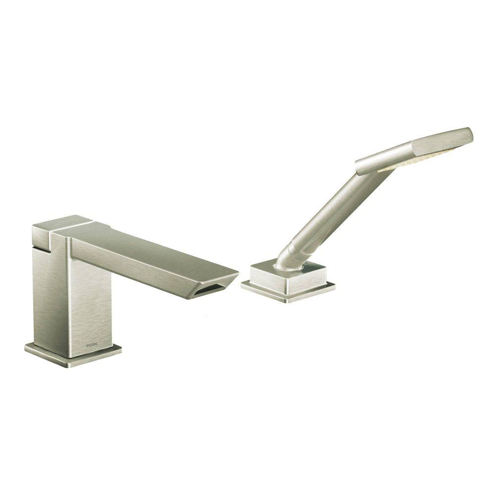 MOEN 90 Degree Touchless Deck Mount Roman Tub Faucet Trim Kit with Handshower in Brushed Nickel (Valve Not Included)