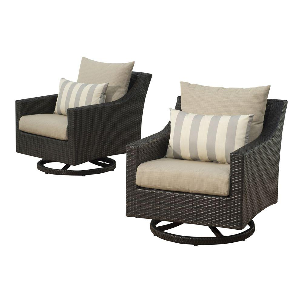 Deco All-Weather Wicker Motion Patio Lounge Chair with Slate Grey Cushions