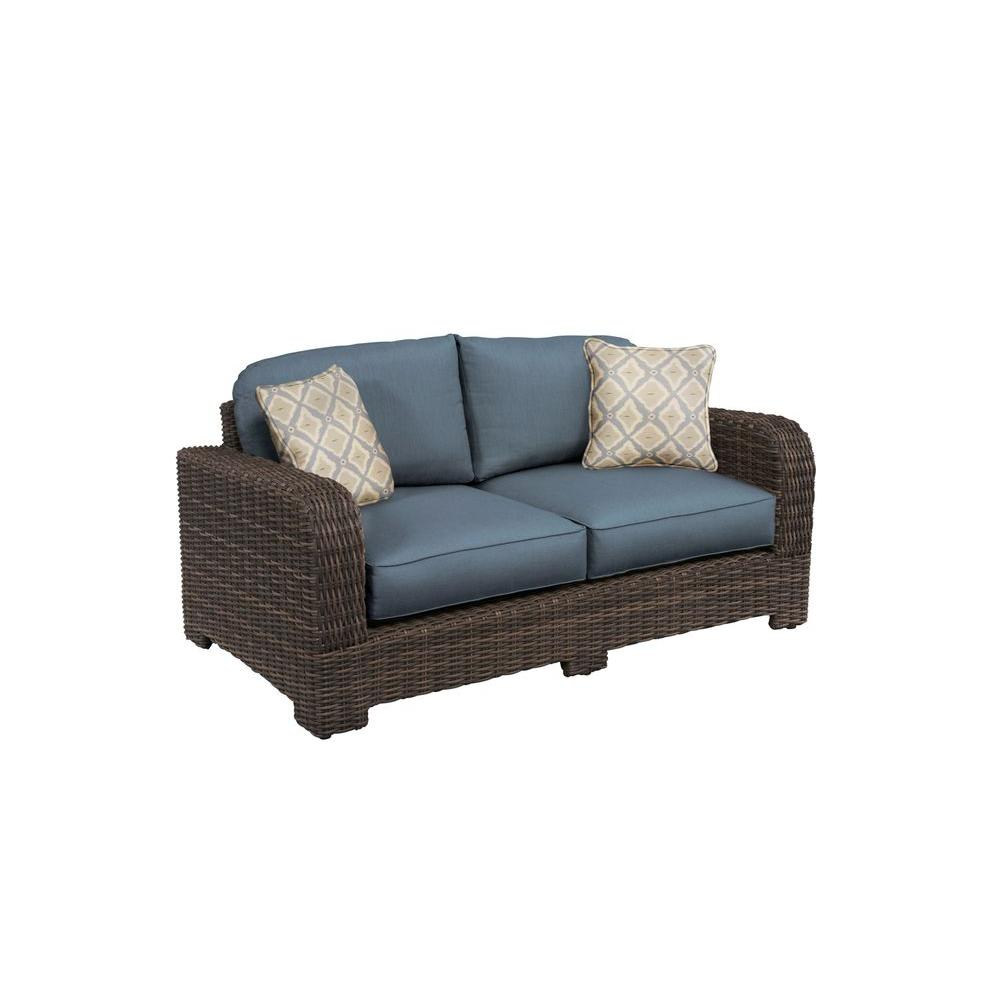 Northshore Patio Loveseat with Denim Cushions and Bazaar Throw Pillows --