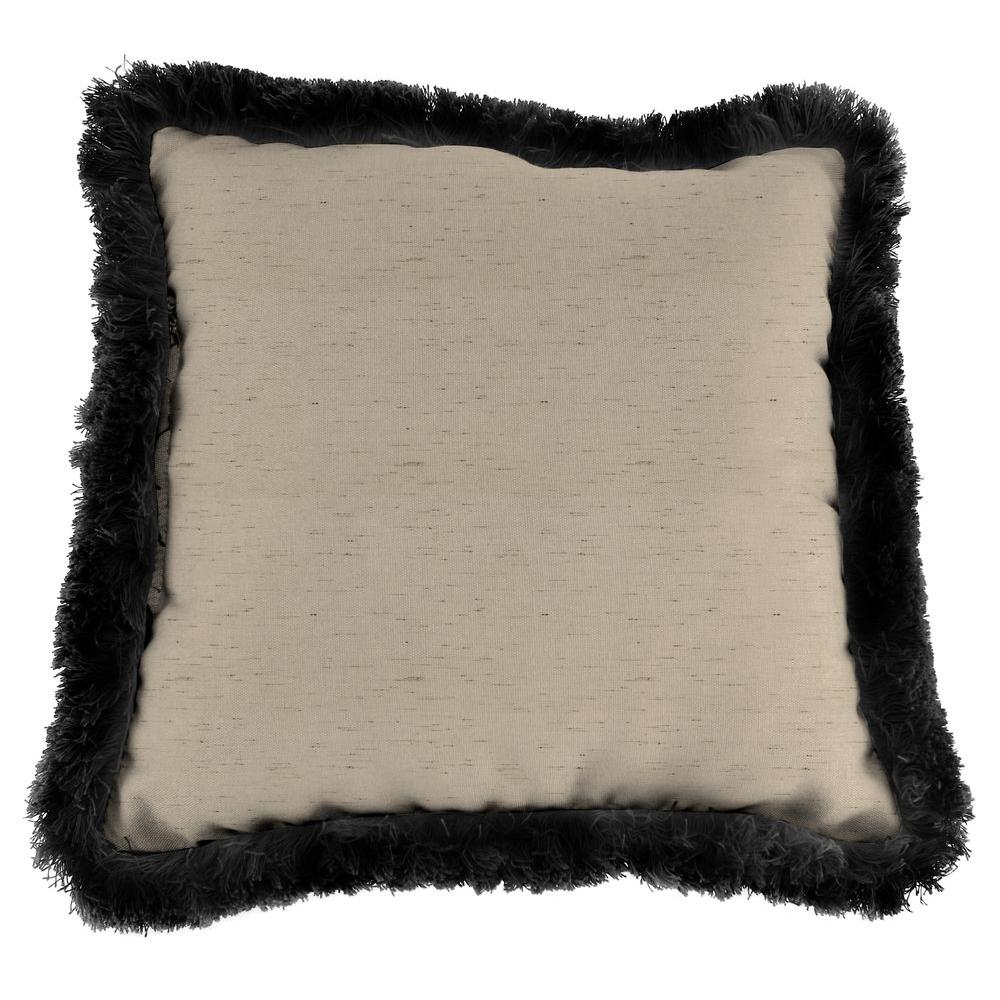 Sunbrella Frequency Sand Square Outdoor Throw Pillow with Black Fringe
