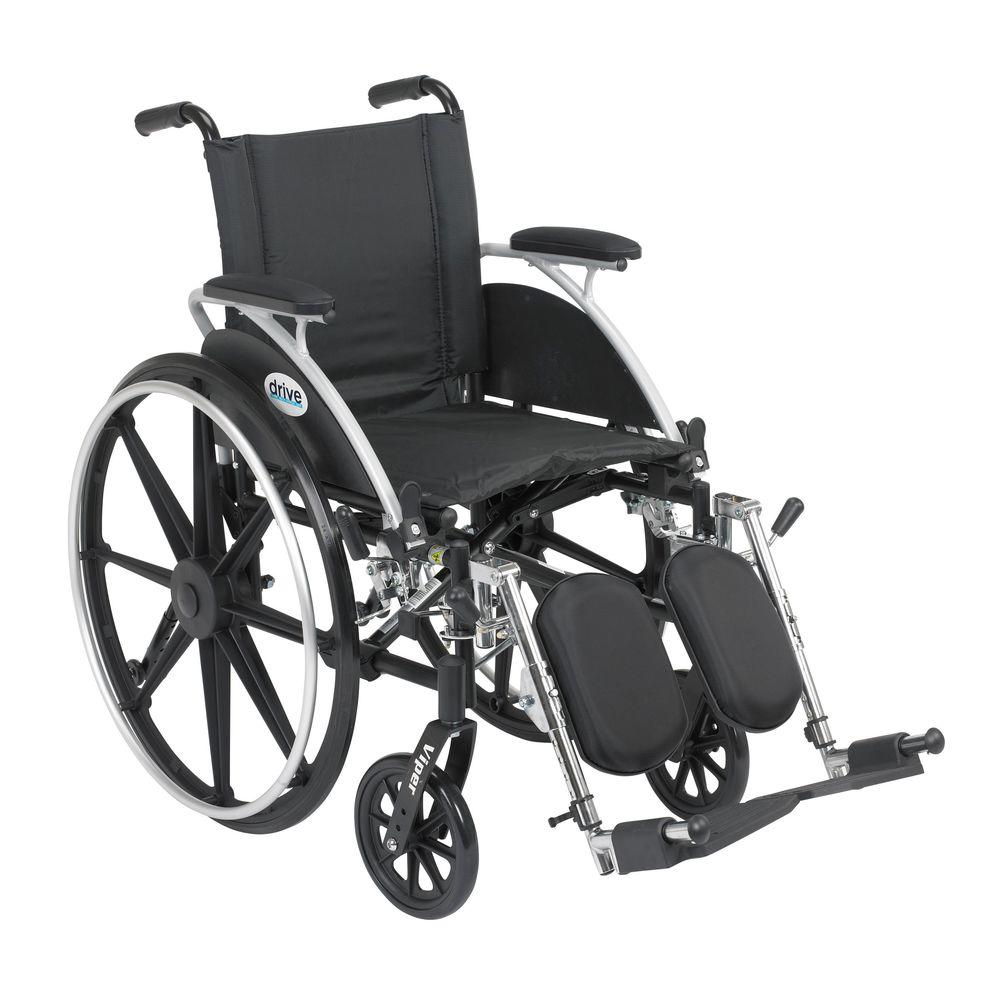 Drive Viper Wheelchair with Removable Flip Back Adjustable Desk Arms and Elevating Legrest
