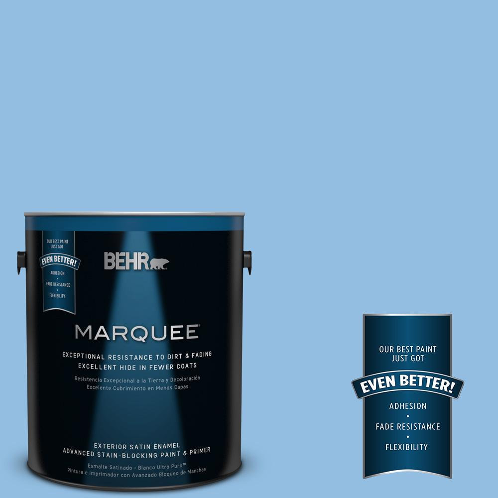 BEHR MARQUEE 1-gal. #P520-3 Toile Blue Satin Enamel Exterior Paint