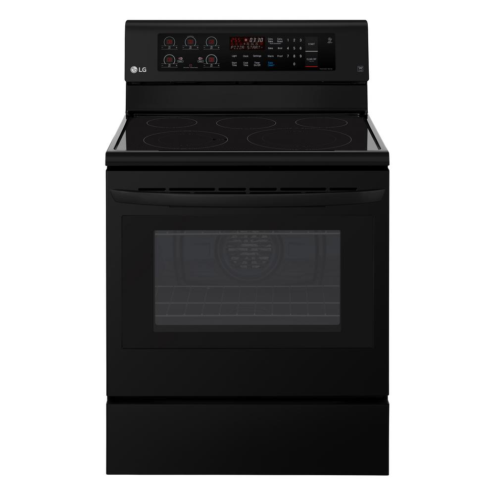 6.3 cu. ft. Electric Range with Convection Oven in Smooth Black
