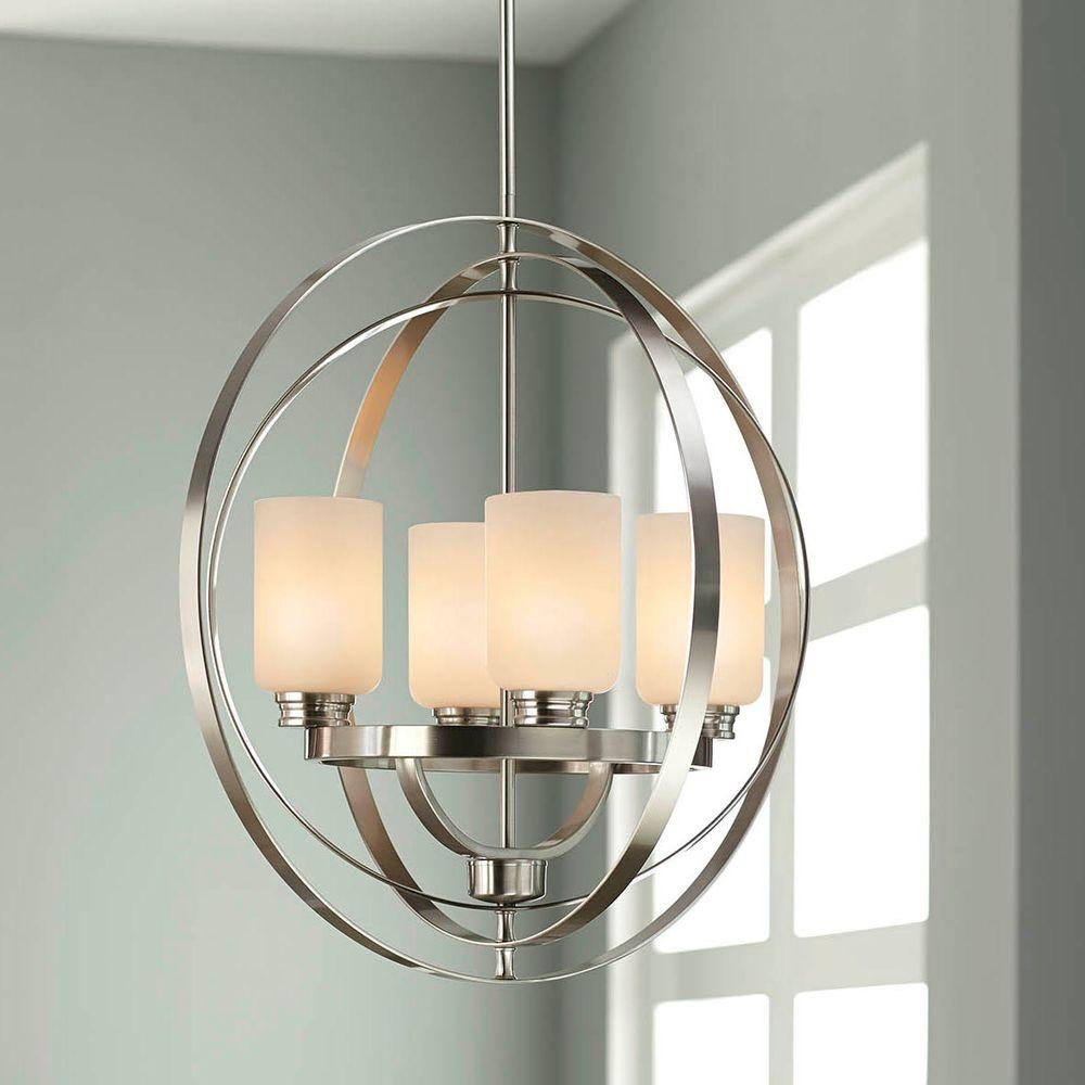 Home Decorators Collection 4 Light Brushed Nickel Chandelier 7900hdc The Home Depot