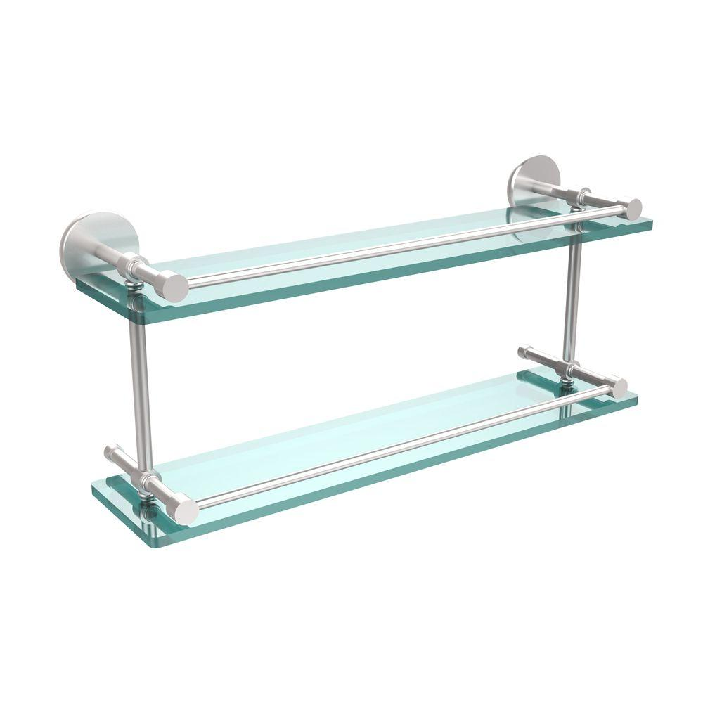 Allied Brass 22 in. W Tempered Double Glass Shelf with Gallery