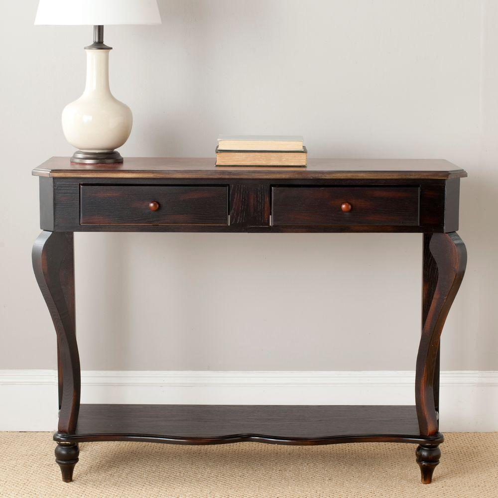 Katie Tiger Dark Brown Storage Console Table