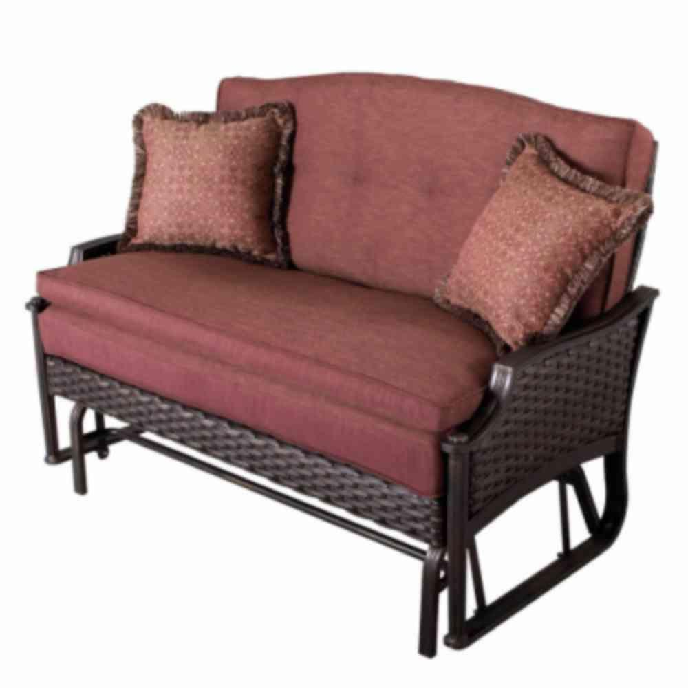 Martha Stewart Living Palamos Wicker 2-Person Patio Glider with Red Cushions-DISCONTINUED