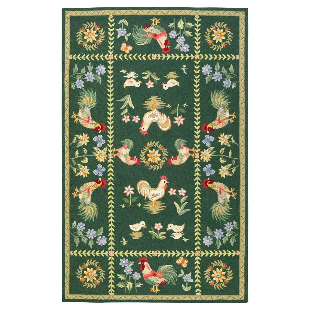 Home Decorators Collection Spring On The Farm Hunter Green 7 ft. 9 in. x 9 ft. 9 in. Area Rug