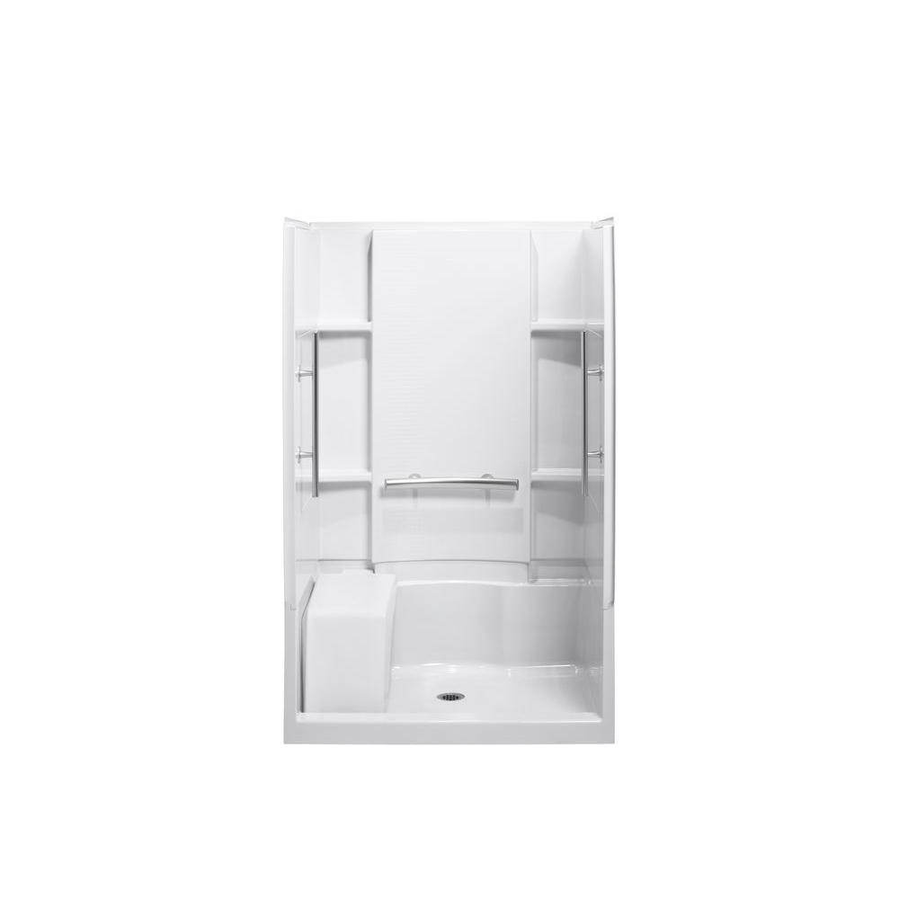 STERLING Accord Seated 36 in. x 48 in. x 74-1/2 in. Shower Kit with Grab Bars in White