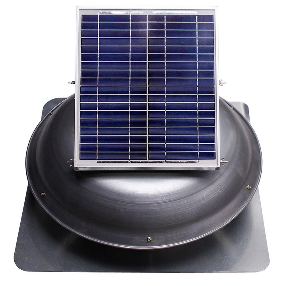 Ventamatic Cool Attic 1000 CFM Grey Solar Powered Roof Attic Vent with Dome Mounted Panel