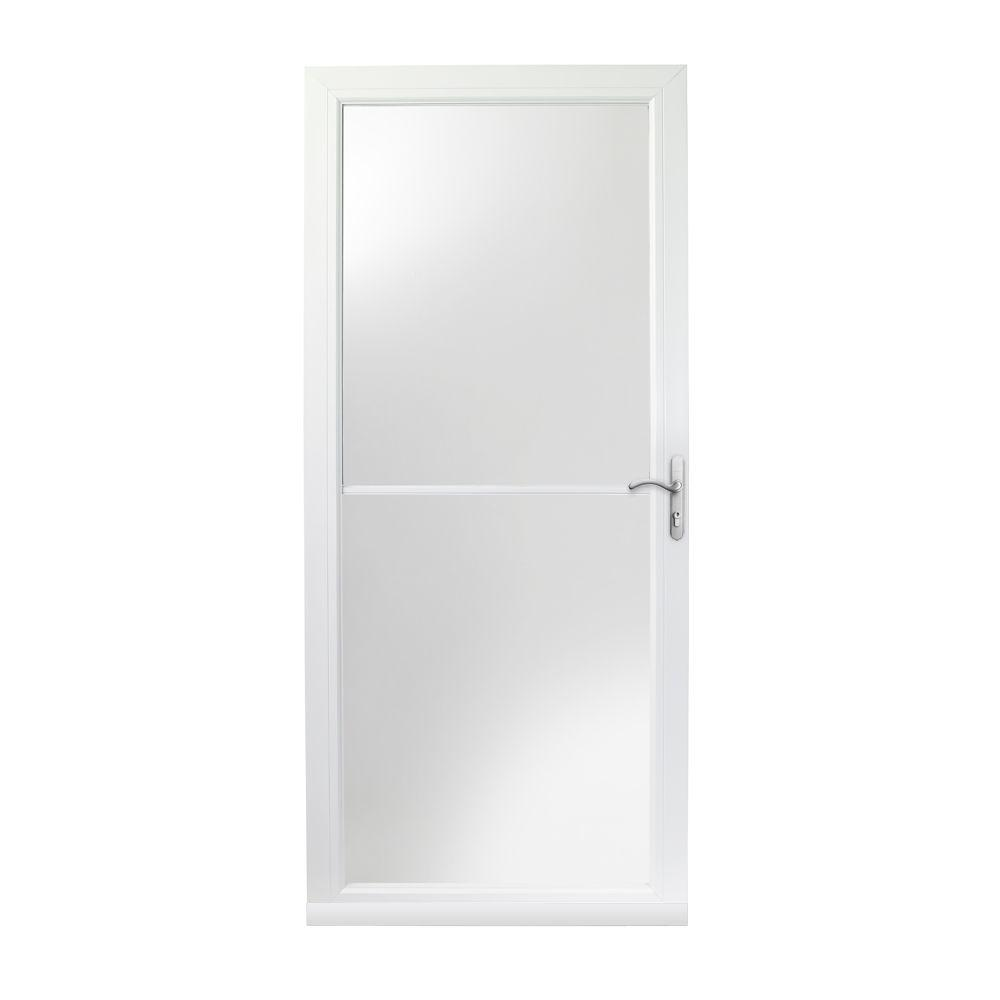 3000 Series White Right Hand Self Storing Easy Install Aluminum Storm Door  With Nickel Hardware