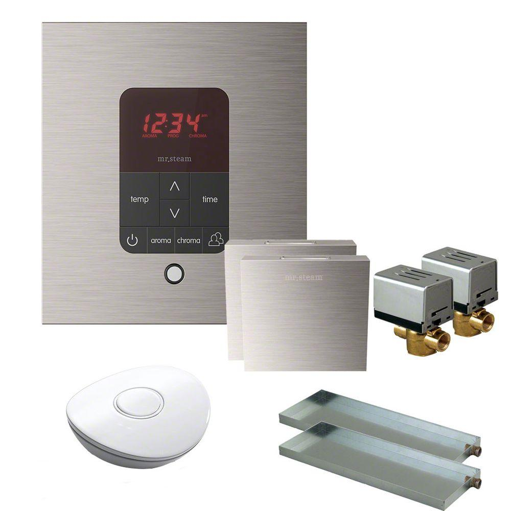 Mr. Steam MS Butler 2 Package with iTempo Pro Square Programmable Control for Steam Bath Generator in Brushed Nickel