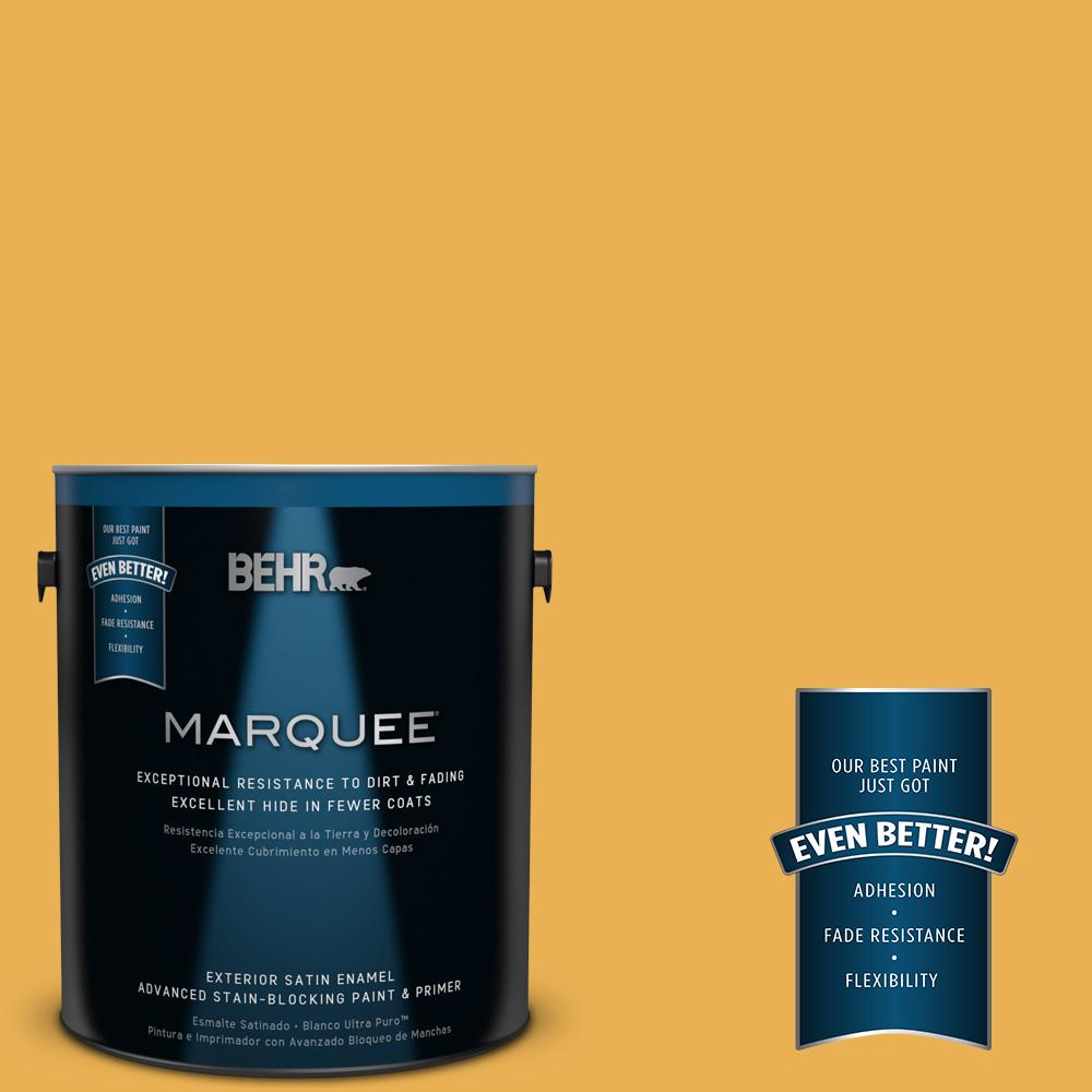 BEHR MARQUEE 1-gal. #PMD-20 Goldenrod Field Satin Enamel Exterior Paint