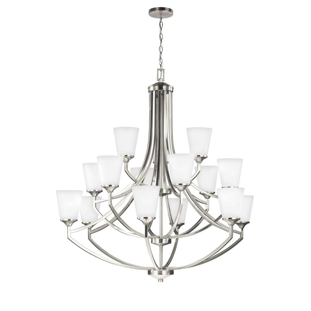 Hanford 15-Light Brushed Nickel Multi Tier Chandelier