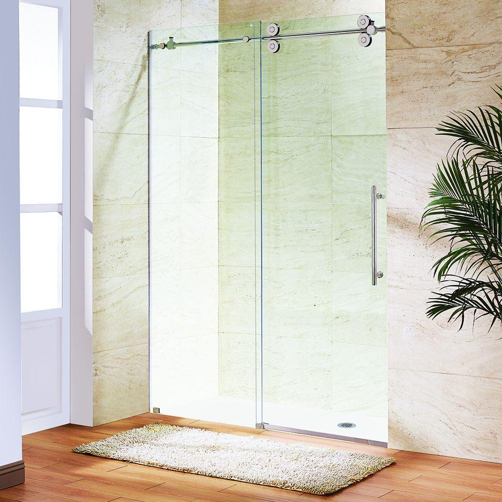Vigo Elan 60 in. x 74 in. Frameless Bypass Shower Door in Chrome with Clear Glass