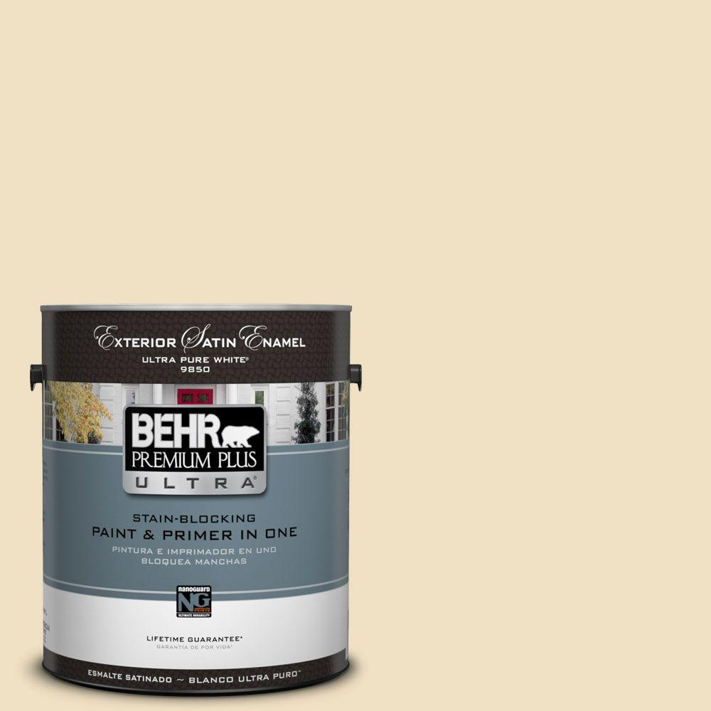 Interior Paint, Exterior Paint & Paint Samples: BEHR Premium Plus Ultra Paint Home Decorators Collection 1-gal. #hdc-NT-17 New Cream Satin Enamel Exterior Paint 985001