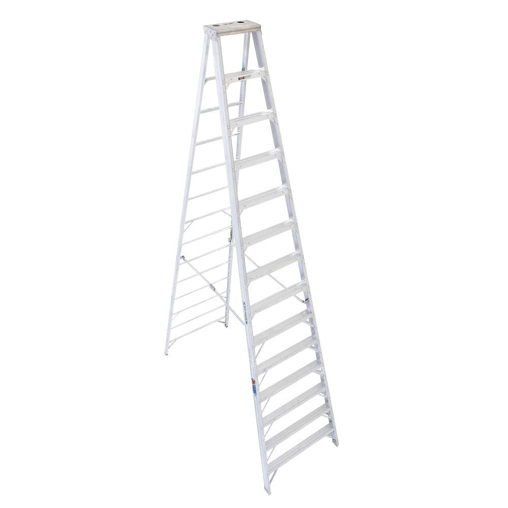 Werner 14 ft. Aluminum Step Ladder with 300 lb. Load Capacity