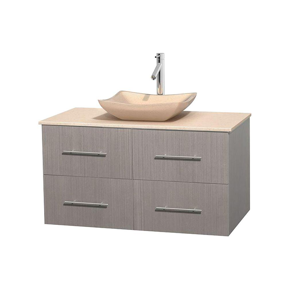 Wyndham Collection Centra 42 in. Vanity in Gray Oak with Marble Vanity Top in Ivory and Sink