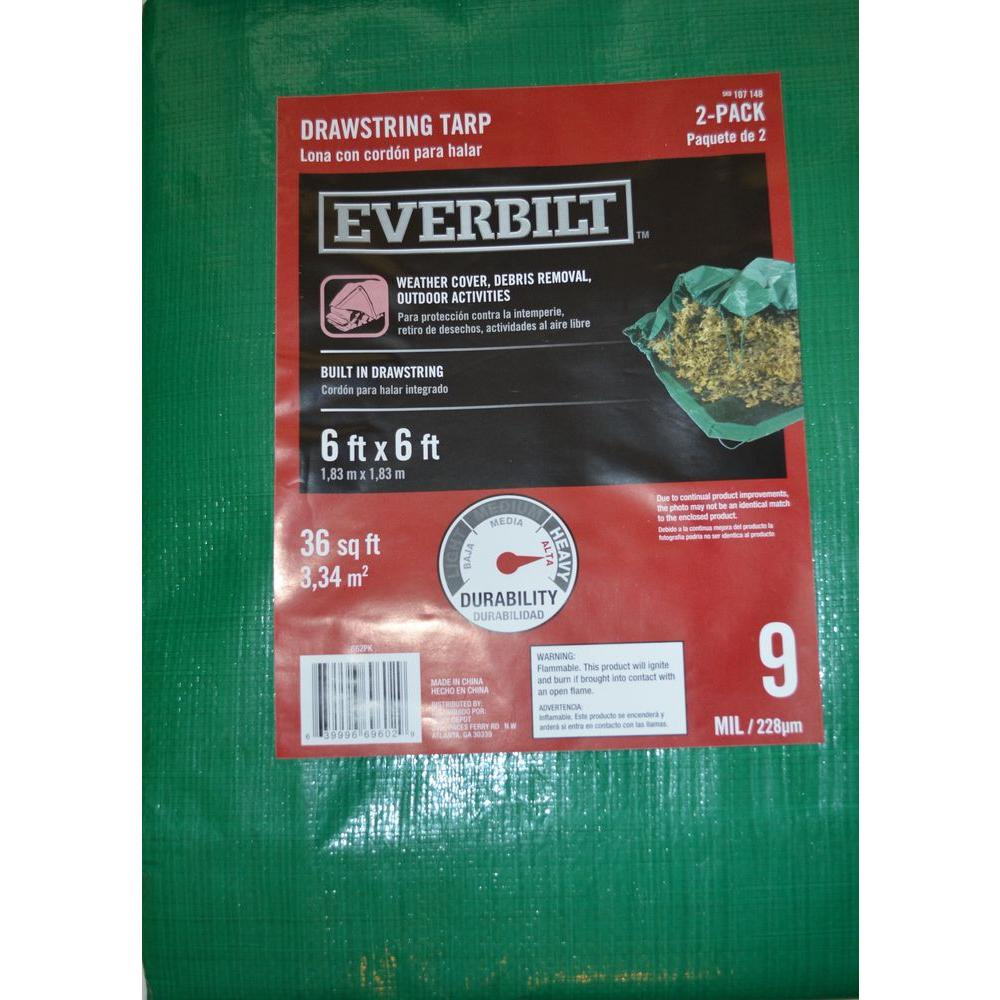 Everbilt 6 ft. x 6 ft. 9-mil Green Drawstring Tarp (2-Pack)-DISCONTINUED