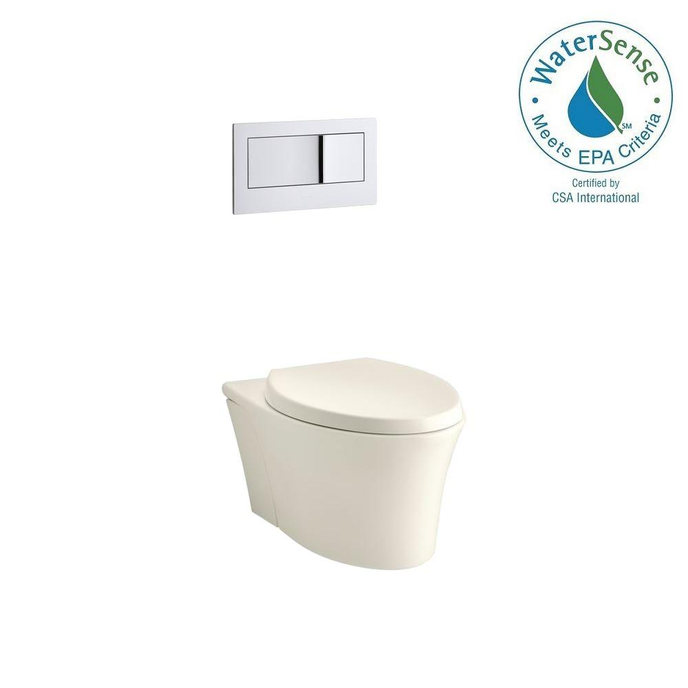 KOHLER Veil Wall-Hung 1-Piece 0.8/1.6 GPF Dual Flush Elongated Toilet in Biscuit