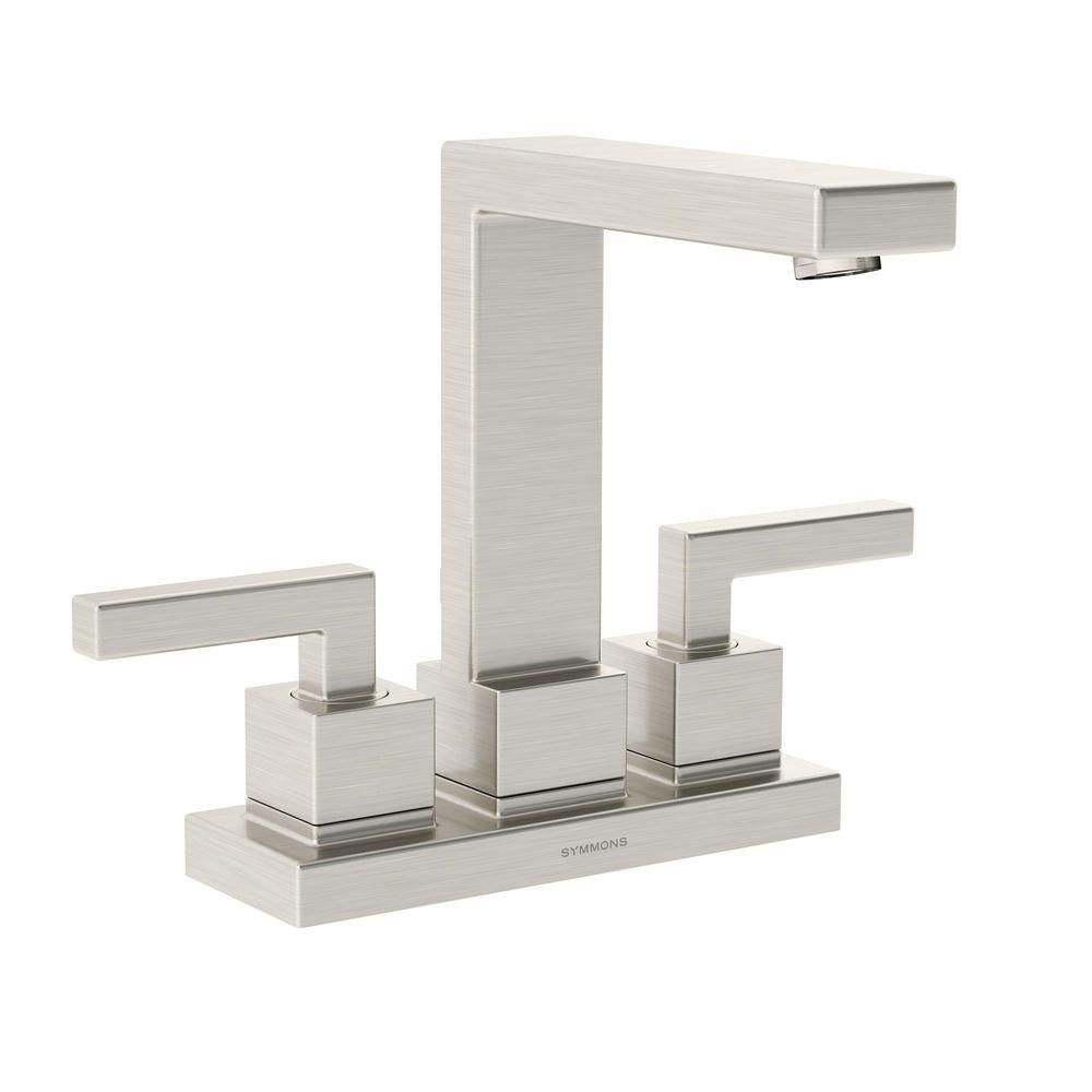 Duro 4 in. Centerset 2-Handle Mid-Arc Bathroom Faucet in Satin Nickel