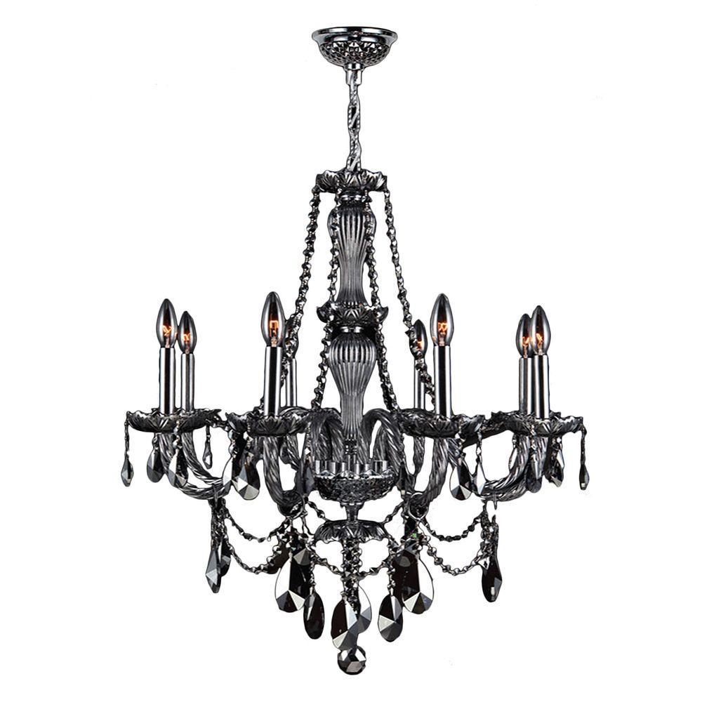 Worldwide Lighting Provence 8-Light Chrome and Smoke Crystal