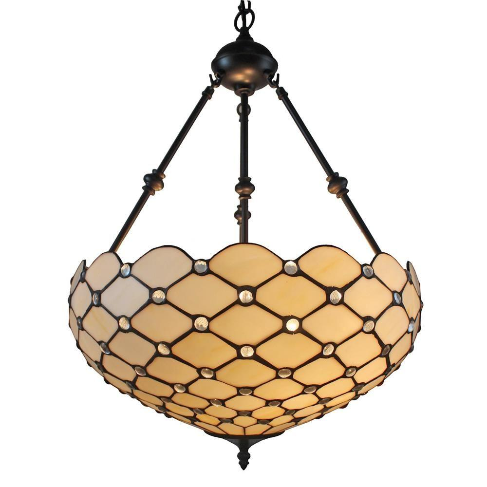 2-Light Tiffany Style and White Ceiling Hanging Pendant