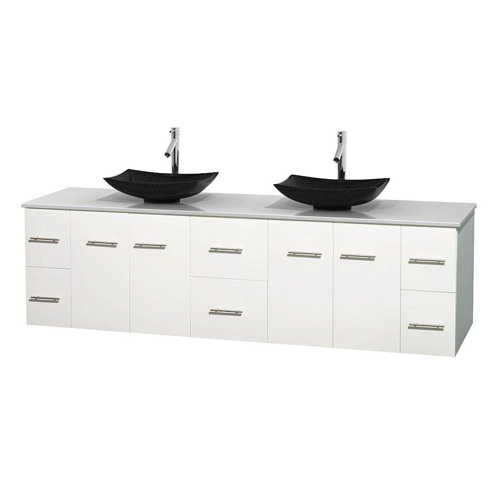 Centra 80 in. Double Vanity in White with Solid-Surface Vanity Top